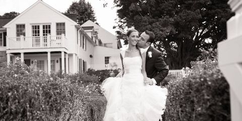 """When: September 15, 2012Where: The country house of Alexis's parents, in Bridgewater, CT.Dress: Vera Wang made the first dress. It was altered at Madame Paulette, where they added straps to a formerly strapless dress. The second dress is from BHLDN—purchased after seeing it in an issue of T&C Weddings.Drinks & Food: Signature cocktails and a martini bar. The groom's favorite wedding food was undoubtedly the apple pie pops that were passed around the dance floor!First Dance: """"Naive Melody"""" by the Talking Heads.Bridesmaids Gifts: Tibi is Alexis's favorite designer. She found a Tibi dress that she loved and purchased it as the bridesmaid's dress for each of her bridesmaids. They got a real dress they could wear again as well as something that was special to Alexis. She completed the look with earrings (also a gift). And treated everyone to a spa and makeup session. She also framed a great shot from the bachelorette party in Savannah.Honeymoon: A week on safari in Tanzania and a week in Cape Town."""
