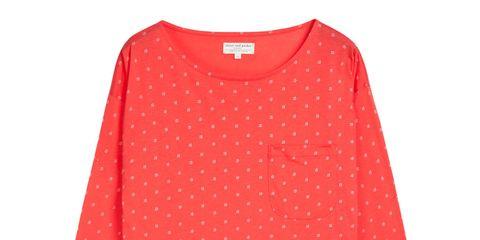 Product, Sleeve, Collar, Textile, Red, Pattern, White, Carmine, Orange, Fashion,