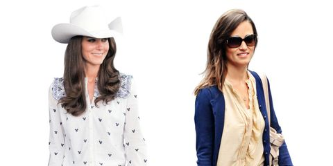 Ever since the royal wedding thrust the McQueen-clad Middleton sisters into the fashion spotlight — and the maid of honor almost upstaged the bride — it seems as if Pippa and Kate have been engaged in a friendly fashion rivalry of sorts. The sisters, who are less than two years apart, might both be known for their gleaming white smiles (so American, those teeth!) and their loyalty to High Street shops (L.K. Bennett and Reiss are favorites), but each has her own distinct style. While older sister Kate's princess attire consists mostly of smart, put-together outfits, Pippa adheres to low-key casualwear. Now that the world is the sisters' catwalk, we thought it a good time to take a look at their best postnuptial style moments.In a Stetson hat, belt buckle, and jeans, Kate goes into full cowgirl mode for the rodeo in Calgary. On the other side of the Atlantic, Pippa channels the riding spirit with her scrunched brown leather boots.