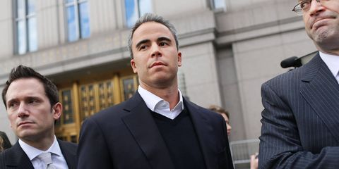 Mr. Steinberg, a top portfolio manager and close confidant of Steve Cohen at SAC Capital Advisers, wears a navy crew neck, a dark suit, and an open collared starched white shirt, projecting the image of the harried trader who'd just stepped away from his terminal. Some details—the hand-sewn buttons and the French shirt placket—do betray the presence of a personal shopper, but clearly Steinberg here is obeying the injunction his wife Liz sent out to friends, to lose the bling if you're going to attend proceedings.Postscript: Mr. Steinberg, who was found guilty yesterday, briefly fainted as the jury returned to render the verdict, which is probably not a good sign for his superior, Steve Cohen, who must hope that Steinberg doesn't crack in the pen. Steinberg now faces an entirely more difficult fashion challenge: what to wear to his sentencing hearing April 25.