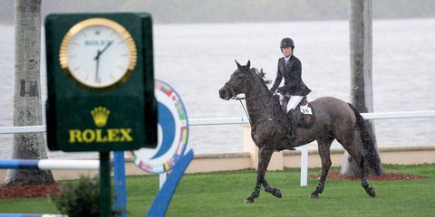 Even a torrential downpour wasn't enough to stop Palm Beach's horsey set from coming to Mar-a-Lago this past Sunday for the second annual Trump Invitational Grand Prix show jumping competition.More than 600 guests paid $1,250 per seat to watch 36 riders, including Jessica Springsteen and a few other familiar faces from T&C's story about the show jumping world, compete for the $125,000 prize money in the backyard of the private club overlooking Lake Worth (Jennifer Gates, Bill Gates's daughter, rode in a $5,000 junior/amateur demonstration following the grand prix). Kent Farrington, onBlue Angel, won for the second year in a row.