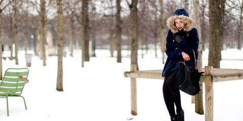 Clothing, Winter, Outerwear, People in nature, Public space, Jacket, Snow, Bag, Freezing, Street fashion,