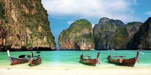 Watercraft, Transport, Boat, Tourism, Coastal and oceanic landforms, Long-tail boat, Boats and boating--Equipment and supplies, Boating, Rock, Travel,