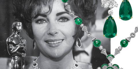 Perhaps we shouldn't be surprised that Elizabeth Taylor's gems are impossible to miss, even when they're next to an eight-and-a-half pound, gold-plated Oscar. Taylor didn't hold back on the bling when she won Best Actress for her performance in Who's Afraid of Virginia Woolf. Make your own diamond-encrusted statment with emerald earrings and a matching necklace from Bulgari.(Bulgari earrings and necklace, prices on request, bulgari.com).