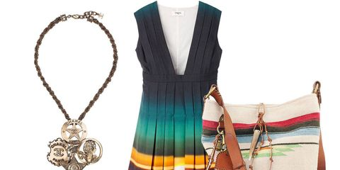 Clockwise from below: Valentino bag ($2,995); Chanel necklace ($1,190); Ports 1961 dress ($1,650); Ralph Lauren Collection bag ($995); Michael Kors sandals ($725)