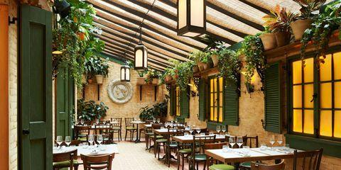 Lighting, Table, Furniture, Interior design, Real estate, Ceiling, Restaurant, Hardwood, Chair, Beam,