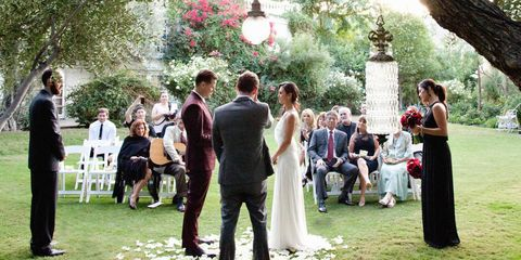 Event, Dress, Photograph, Bridal clothing, Tree, Petal, Coat, Suit, Bride, Formal wear,
