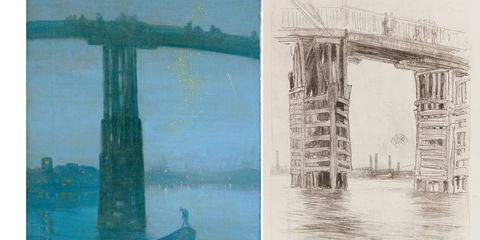 """There is little doubt that Whistler (1834-1903), with his appetite for controversy, would have had a tremendous Twitter following today. He sued the greatest living art critic of his era, John Ruskin, who didn't like Whistler's concoctions of the day—precisely the series of moody moonlit visions of the Thames now on display at the Smithsonian's Sackler Gallery. Ruskin considered them a """"willful imposture. I... never expected to hear a coxcomb ask two hundred guineas for flinging a pot of paint in the public's face."""" (Whistler eventually sold the objectionable painting for four times that amount.) The painter sued the critic for the offensive comment—and won—then continued this confrontational outrageousness in his social life. When Oscar Wilde liked one of Whistler's one-liners so much that he told him, """"I wish I'd said that,"""" Whistler snapped back, """"You will, Oscar. You will."""" Today it's hard to spot such reckless impulsiveness in this series, executed with a loose sure-handedness that's hard to equal. It was another version of the """"Nocturne"""" at left that raised Ruskin's hackles; to our eyes, schooled on the atmospheric imprecision of the Impressionist works that came later, Whistler's architectural exactness is unmistakable, almost a handicap. But all the more reason to appreciate his reporting: he captures England in its industrial boom when night skies were so smoky fireworks were reduced to a spray of glitter."""