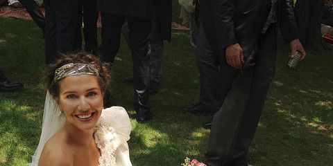 Bride Margherita Missoni takes a break during her wedding festivities.