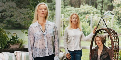 The daughters of Paul Newman and Joanne Woodward — from left, Nell Newman, Clea Newman Soderlund, and Lissy Newman — at their family home in Westport, Connecticut.Nell wears her own shirt and pants and a Robert Lee Morris necklace. Clea wears her own sweater and pants and a J. Crew T-shirt ($37). Lissy wears a Ralph Lauren Blue Label jacket ($1,298), Brunello Cucinelli blouse ($625), and her own pants and boots.