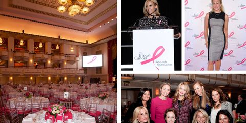 A view of the room at the Waldorf Astoria for the Breast Cancer Research Foundation; Tory Burch takes the stage; Muffie Potter Aston gives a touching speech; Medical experts and philanthropists come together for a good cause.