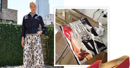 """Here (and throughout), from left:1) Carolina Herrera resort 2014 palazzo pants.2) It's Modern: The Eye and Visual Influence of Alexander Lieberman, by Charles Churchward3) Kotur flats (available this fall at kotur.com). """"My sister makes these!"""""""