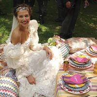 Bride Margherita Missoni takes a break during her wedding festivities.