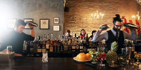 """<p>Trevor Schneider, head bartender at <a href=""""http://www.hardingsnyc.com/"""">Harding's</a> mixes one of the submitted recipes for judges Leo Robitschek, Belinda Chang, and Jonathan Pogash. </p> <div> </div>"""