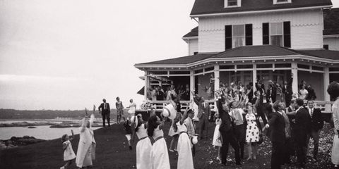 People, Photograph, House, Monochrome, Vintage clothing, Cottage, Ceremony, Family,