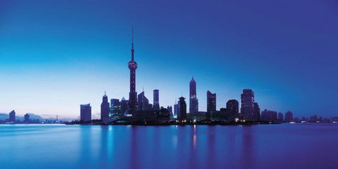 Blue, Tower block, Tower, City, Metropolitan area, Metropolis, Urban area, Cityscape, Water resources, Skyline,