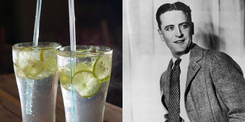 Gin rickeys (left) and F. Scott Fitzgerald.