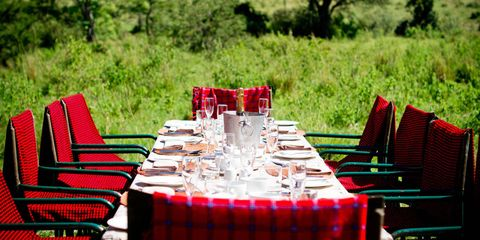Tablecloth, Textile, Furniture, Plant community, Table, Red, Linens, Chair, Tableware, Drinkware,