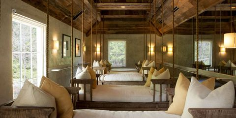<p>Suspended beds at the Wellhouse, Blackberry Farm's spa.</p>
