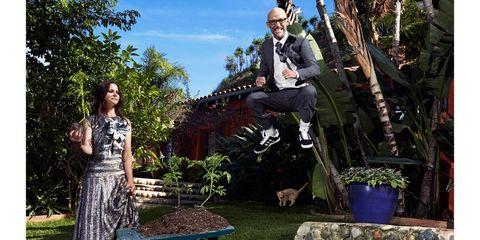 Dress, Flowerpot, Garden, Backyard, Stool, Shrub, Yard, Outdoor furniture, Day dress, Pebble,