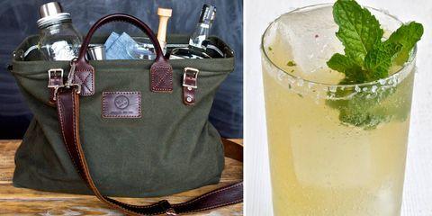 Drink, Alcoholic beverage, Liquid, Cocktail, Classic cocktail, Bag, Distilled beverage, Lemon-lime, Cocktail garnish, Tableware,