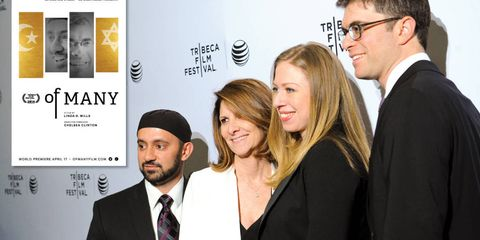 From left: Khalid Latif, Linda G. Mills, Chelsea Clinton, and Yehuda Sarna at the Of Many film premiere.