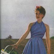 Dress, Basket, Wicker, Storage basket, Vintage clothing, One-piece garment, Bicycle accessory, Bicycle basket, Day dress, Publication,