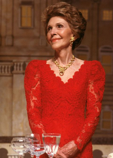 First Lady Nancy Reagan at the President's Dinner, 1988.