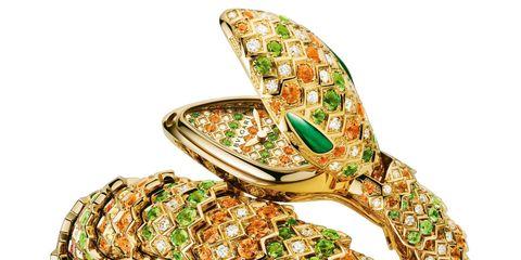 Bulgari 'Serpenti' watch 18ct yellow gold, diamonds, spessartite and tsavorites, with malachite eyes.