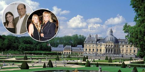 The model for the Fleur-de-Lys in Los Angeles is nearly indistinguishable from chateau above, outisde Paris. The former owner Suzanne Saperstein (blond, with her daughter) sold the place to a buyer rumored to be Michael Milken (bald, with daughter).