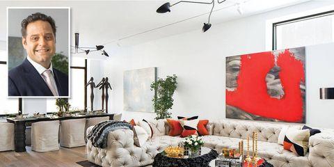 Room, Interior design, Floor, Ceiling, Furniture, Living room, Couch, Tie, Suit, Interior design,