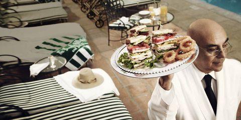 Cuisine, Dress shirt, Food, Dish, Meal, Tableware, Dishware, Finger food, Tablecloth, Sandwich,
