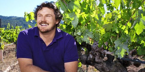 Collar, Shirt, Leaf, Agriculture, Beard, People in nature, Facial hair, Grape leaves, Grapevine family, Seedless fruit,