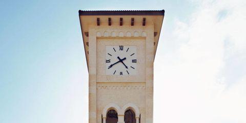 Sky, Architecture, Property, Clock tower, Land lot, Real estate, Landmark, Facade, Tower, Clock,