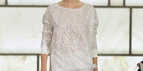 Clothing, Shoulder, Textile, Joint, White, Fashion show, Style, Floor, Flooring, Fashion,