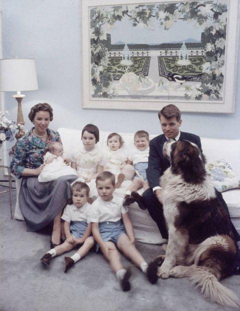 RFK's family portrait with their St. Bernard.