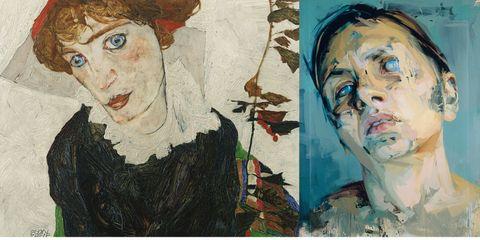 """Portrait of Wally Neuzil,"" by Egon Schiele; ""Rosetta II,"" by Jenny Saville."