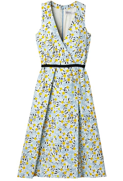 Yellow, Collar, Sleeve, Pattern, Dress, Textile, White, Formal wear, One-piece garment, Style,