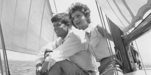 John F. Kennedy and Jackie Kennedy sailing in Hyannis Port