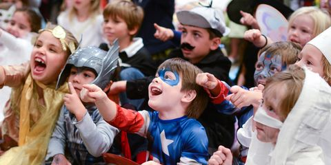 Face, Nose, People, Social group, Child, Toddler, Fictional character, Thumb, Gesture, Costume,