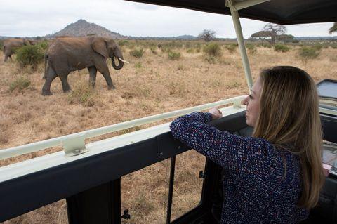 Chelsea Clinton visiting Tarangire National Park in Tanzania.