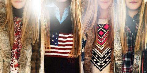 Textile, Style, Collar, Pattern, Fashion, Maroon, Street fashion, Body jewelry, Long hair, Fashion design,