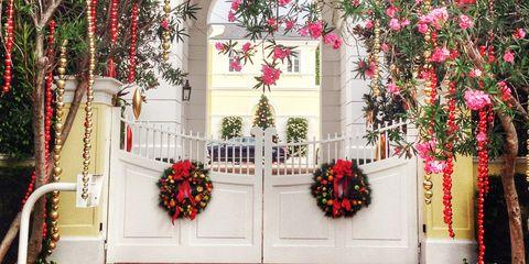 Red, Flower, Pink, Flower Arranging, Floristry, Floral design, Door, Creative arts, Symmetry, Christmas decoration,