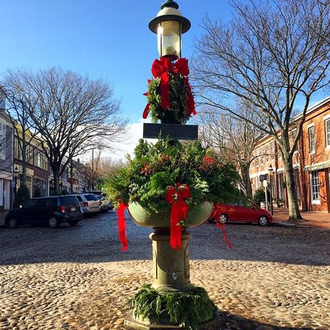 the holiday festive fountain on main street every season it is styled by the nantucket garden club