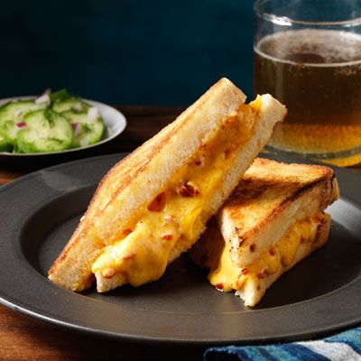 """<p>A Southern twist on the classic grilled cheese. Making you own pimiento cheese is easy and can be done ahead.</p><p><b>Recipe:</b><a href=""""http://www.delish.com/recipefinder/pimiento-grilled-cheese-recipe-rbk0313?click=recipe_sr"""" ><b>Pimiento Grilled Cheese </b></a></p>"""