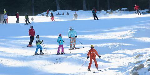 Winter, Recreation, Winter sport, Skier, Snow, Slope, Ski Equipment, Outdoor recreation, Ski pole, Ski boot,