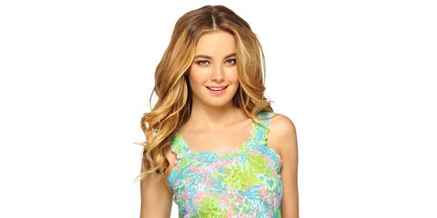 Clothing, Hairstyle, Shoulder, Style, Beauty, Day dress, Step cutting, Long hair, Neck, Brown hair,
