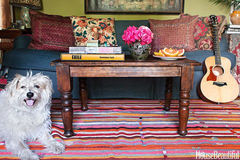 """<p>""""The weathered, chipped surface of my Indonesian table means I can really use it without ever worrying about damage. And I love its informality among the Pierre Frey and Bennison fabrics in my living room."""" &#151;<em>Schuyler Samperton</em></p>"""