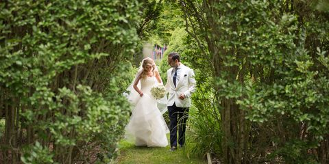 Clothing, Dress, Trousers, Bridal clothing, Coat, Photograph, Bride, Outerwear, Wedding dress, Happy,