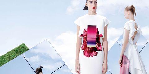 Human, Shoulder, Fashion, Magenta, Lipstick, Pole, Waist, Day dress, Fashion design, Makeover,